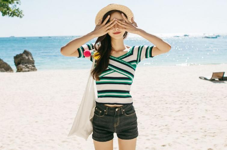 韩国女神孙允珠 唯美沙滩长裙系列