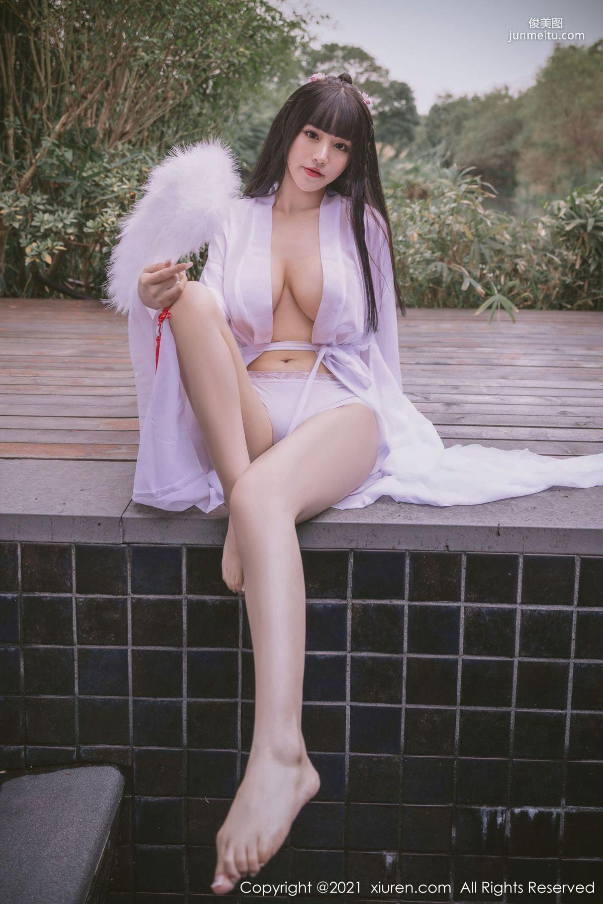 洁白迷人朱可儿 薄纱古风外拍系列