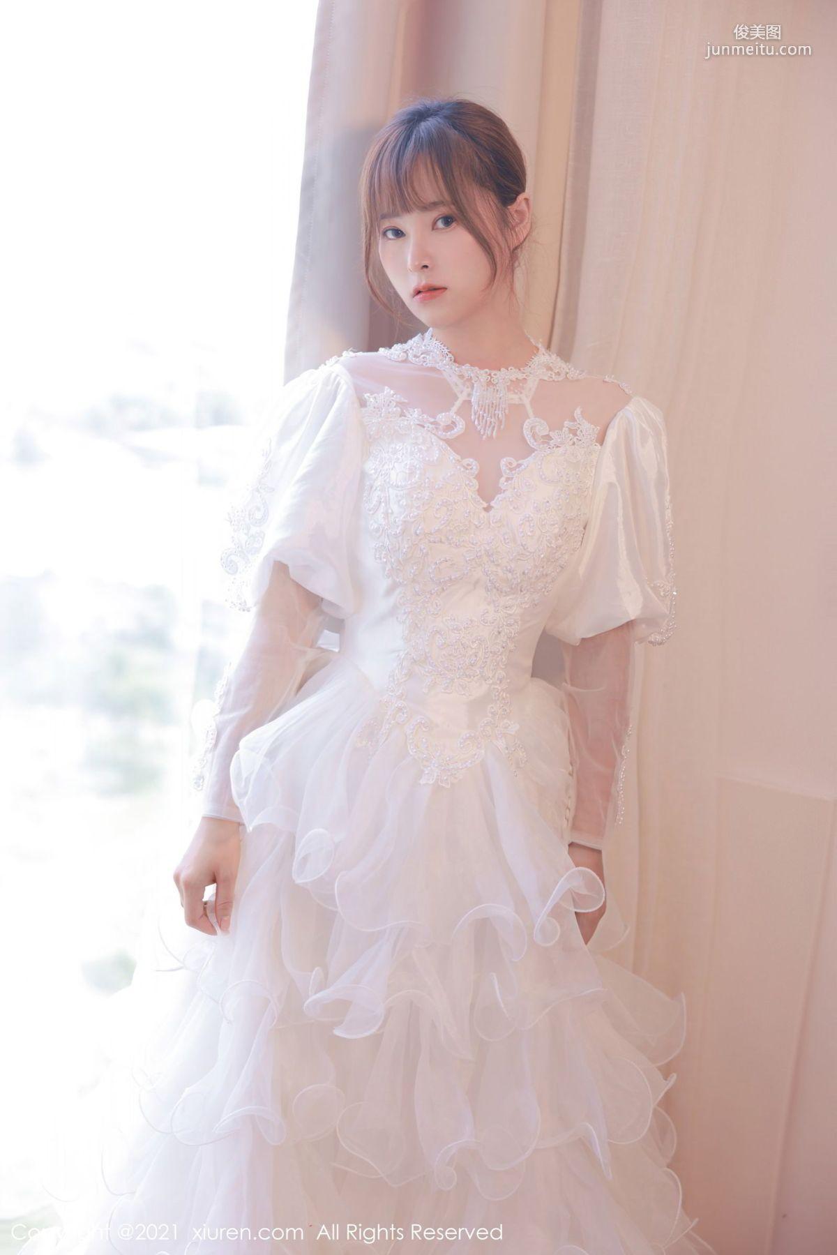 欧派模特奈沐子 唯美动人白色婚纱
