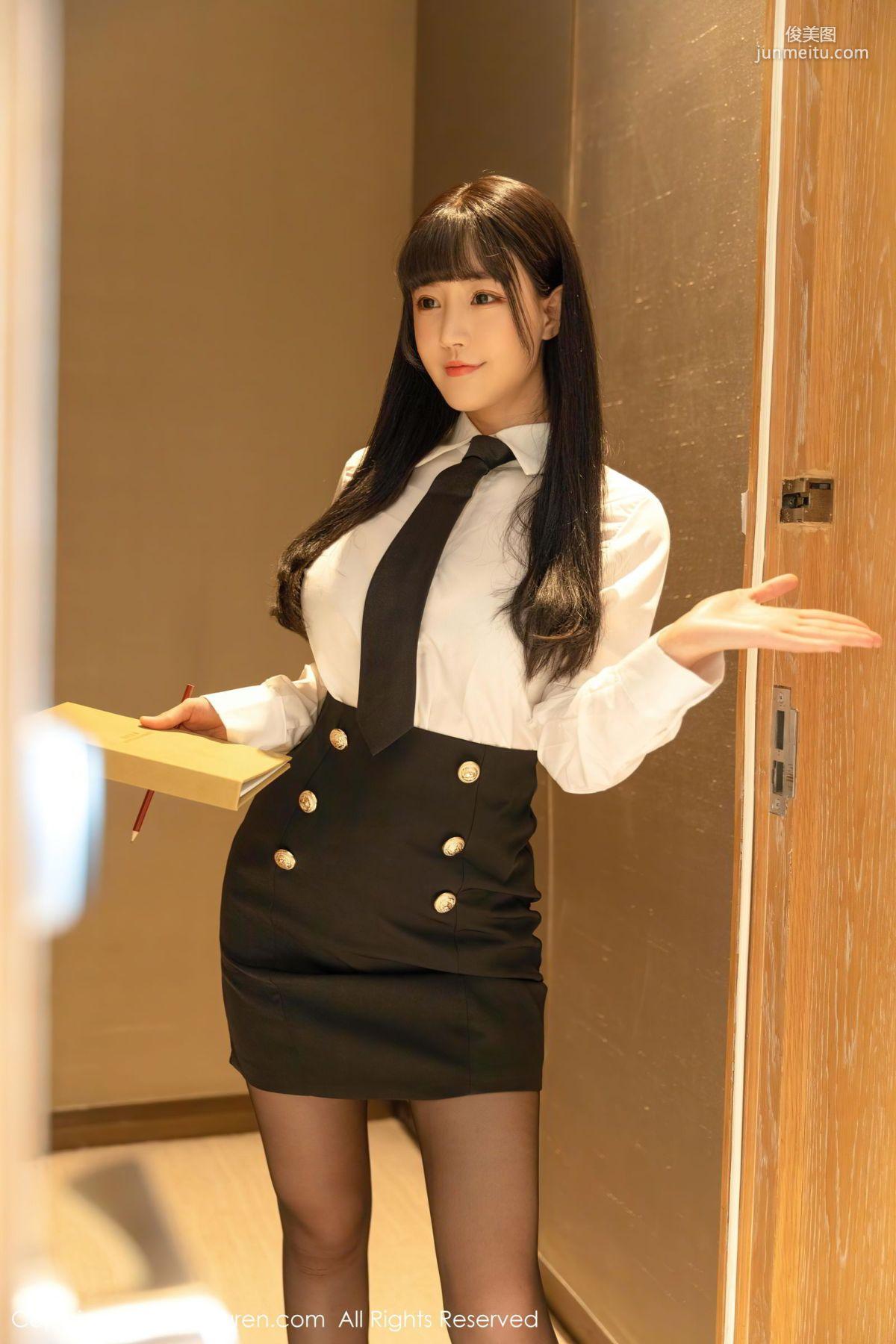 妹妹朱可儿Flower 职场白衬衫黑短裙